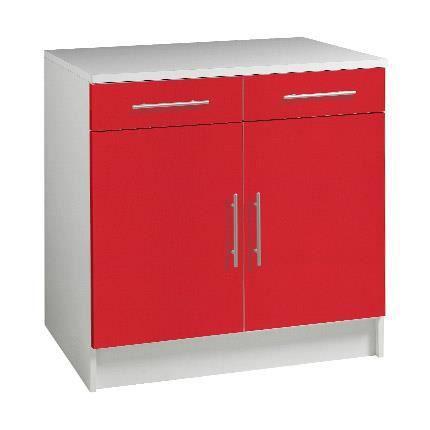 Trendy meuble bas 2 portes 2 tiroirs l80cm rouge achat for Meuble bas 2 portes