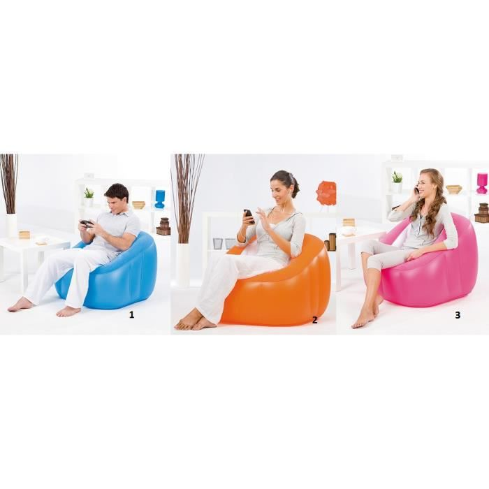 Chaise pouf gonflable lounge fauteuil rose achat for Chaise gonflable