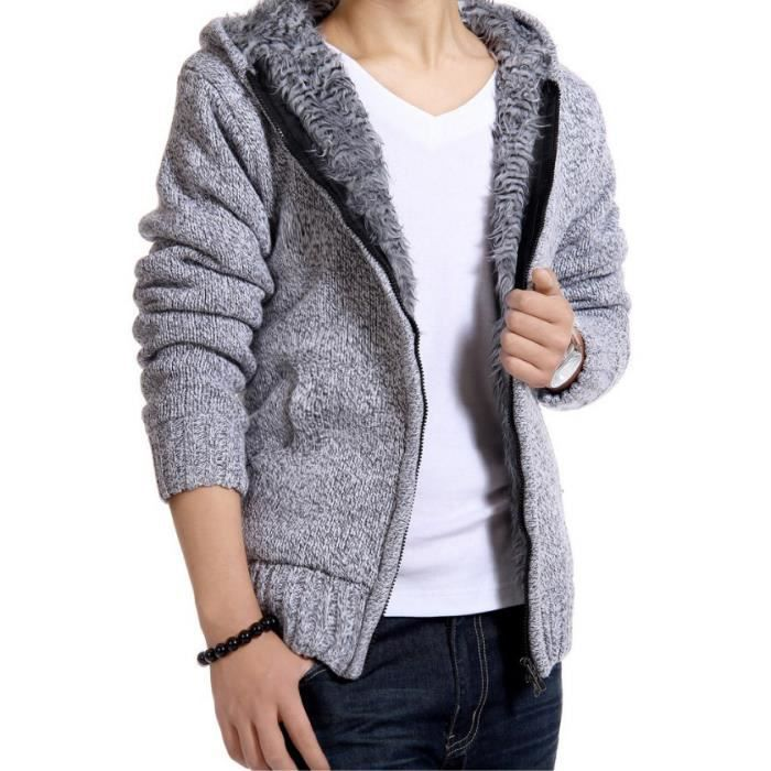 sweat homme pull d 39 hiver homme cardigan men blanc blanc achat vente pull cdiscount. Black Bedroom Furniture Sets. Home Design Ideas