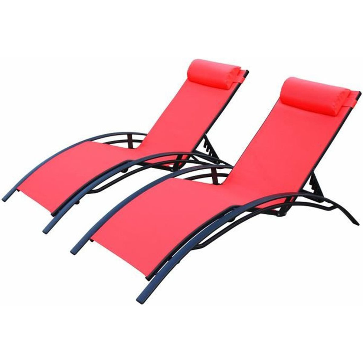 Louisa x2 anthracite corail achat vente chaise for Achat chaise longue