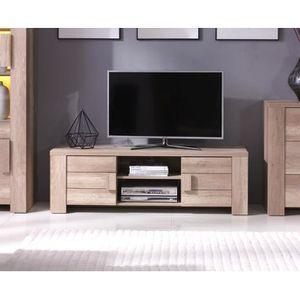 Meuble tv design couleur chêne FERRARA. Idéal pour poser votre télévision et meubler votre salon
