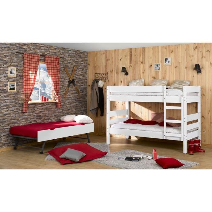 lit superpos tiroir lit 3 matelas 90x190 blanc achat vente lits superpos s cdiscount. Black Bedroom Furniture Sets. Home Design Ideas