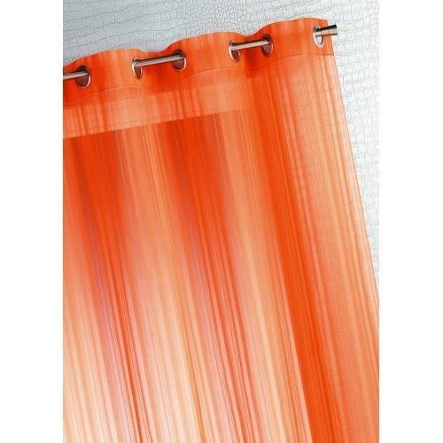 Rideau fantaisie tiss uni mandarine 150 x 240cm achat for Rideau fantaisie