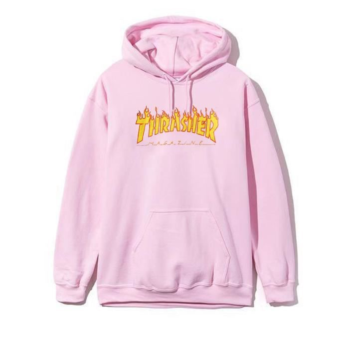 thrasher magazine sweat shirt pull over oversize capuche homme femme hoodies hooded d automne. Black Bedroom Furniture Sets. Home Design Ideas