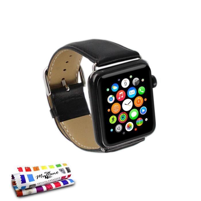 bracelet le cuir premium noir pour apple watch 38mm achat bracelet montre connec pas cher. Black Bedroom Furniture Sets. Home Design Ideas
