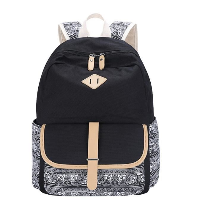 saideng sac a dos college fille scolaire vintage toile cartable sac dos coll ge lyc e sac d. Black Bedroom Furniture Sets. Home Design Ideas