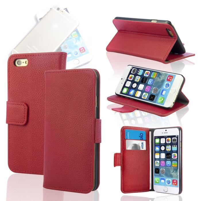 Housse coque portefeuille cuir iphone 6 4 7 rouge achat for Housse portefeuille iphone 6