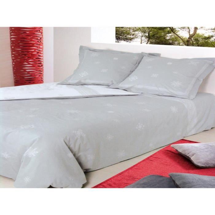 parure housse de couette coton 240x220 cm feroe cendre. Black Bedroom Furniture Sets. Home Design Ideas