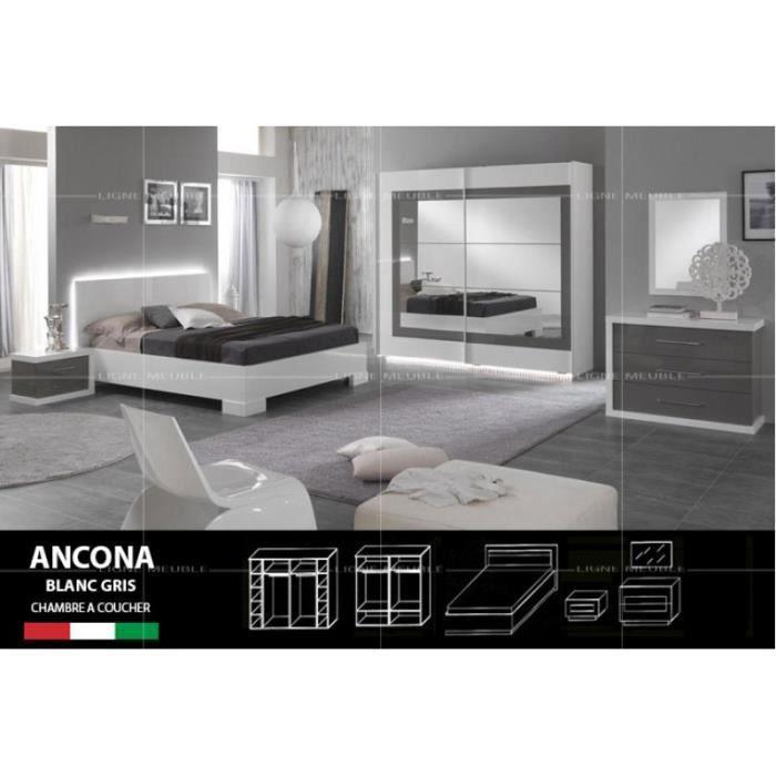Ancona laque blanc et gris ensemble chambre a coucher for Ensemble de chambre a coucher complet