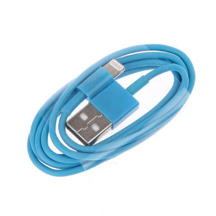fil cordon alimentation i phone 2 metres bleu clair achat chargeur t l phone pas cher avis et. Black Bedroom Furniture Sets. Home Design Ideas