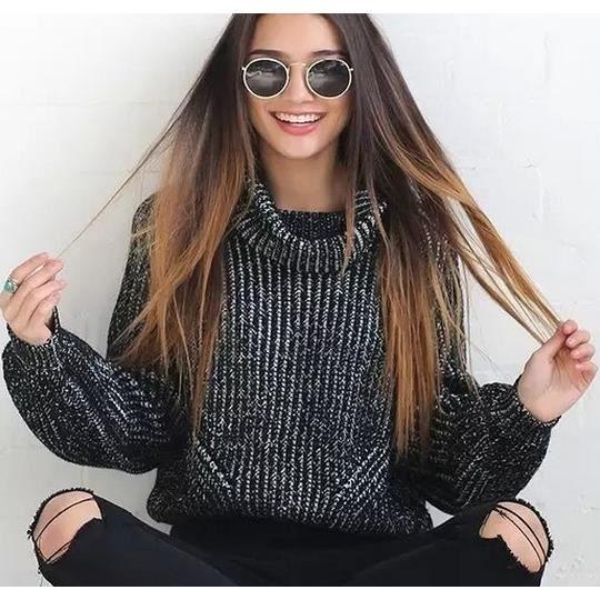 femme pull irlandais col roul pull tricot haut surdimensionn ample manche longue uni femme. Black Bedroom Furniture Sets. Home Design Ideas