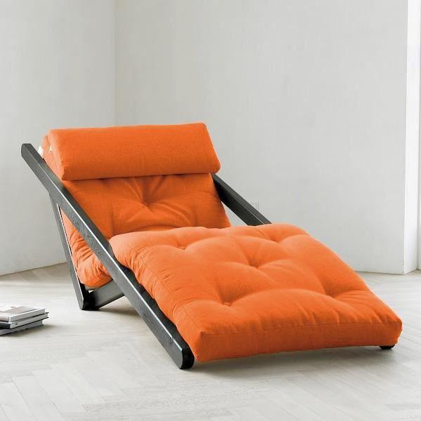Fauteuil convertible figo 70 weng futon orange achat vente fauteuil pin - Fauteuil futon convertible ...