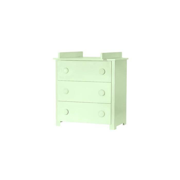 Commode 3 tiroirs table langer dadou vert achat vente commode de - Commode a langer cdiscount ...