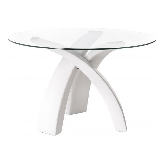 Table manger blanche pieds crois s 120 x 120 x 74 cm for Table a manger 120 cm