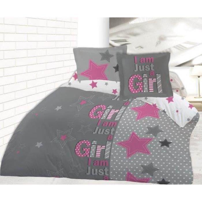 housse de couette just a girl 200x200 avec 2 taies assorties 65x65 100 coton achat vente. Black Bedroom Furniture Sets. Home Design Ideas