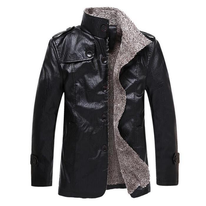 veste en cuir hiver hommes fourrure grands chantiers noir. Black Bedroom Furniture Sets. Home Design Ideas