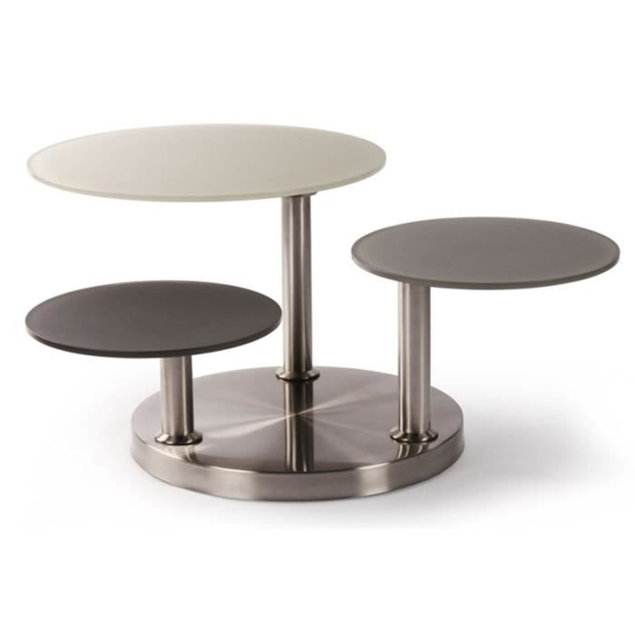 Table basse toad plateaux pivotants taupe achat vente for Table basse 3 plateaux pivotants