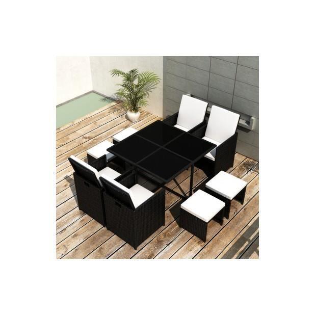 Superbe ensemble de jardin en rotin table 4 chaises et 4 repose pieds noir - Ensemble table et chaise de jardin plastique ...