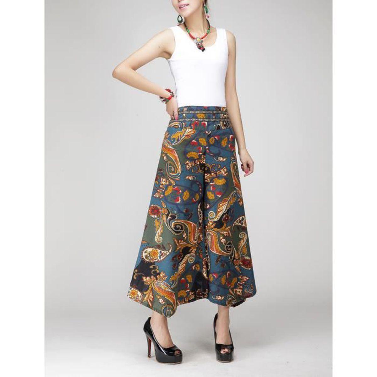pantalon large jambes femme bleu ol vintage lin fluide. Black Bedroom Furniture Sets. Home Design Ideas