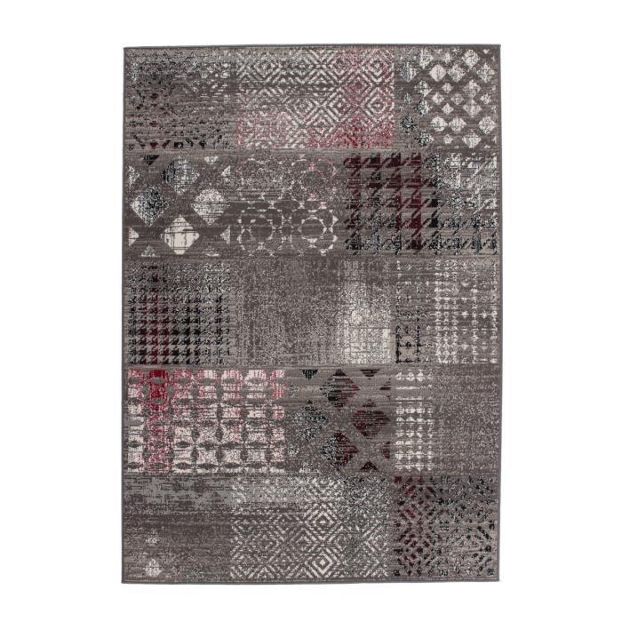 tapis de salon patchwork design gris 80x150 cm achat vente tapis cdiscount. Black Bedroom Furniture Sets. Home Design Ideas