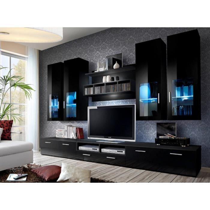 Lyre ensemble de meubles de salon couleur noir laqu for Ensemble de meuble de salon