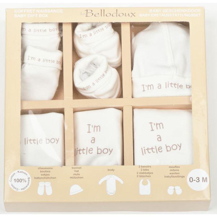 coffret de naissance gar on 6pi ces i 39 m a litt beige achat vente coffret cadeau textile. Black Bedroom Furniture Sets. Home Design Ideas