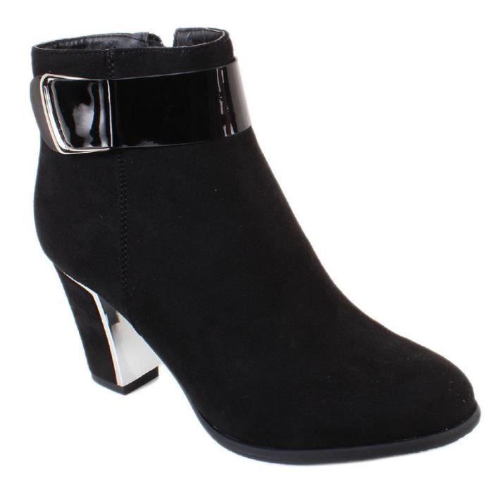 bottines style shoes daim boucle brillante noir noir achat vente bottine cdiscount. Black Bedroom Furniture Sets. Home Design Ideas