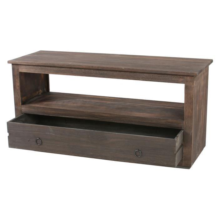 meuble tv rack plateau lowboard shabby chic achat vente meuble tv meuble tv rack. Black Bedroom Furniture Sets. Home Design Ideas