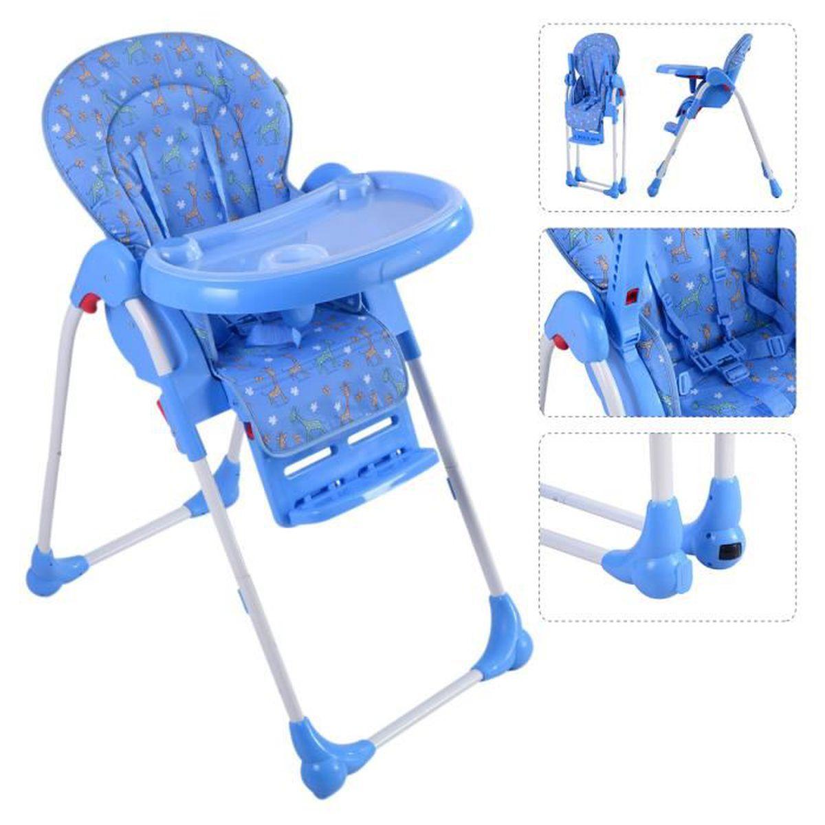 chaise haute de b b pour enfants r glable pliable grand confort neuf bleu achat vente. Black Bedroom Furniture Sets. Home Design Ideas