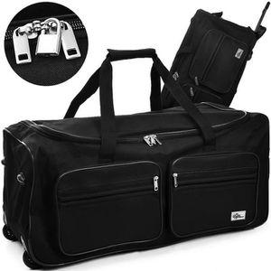 SAC DE VOYAGE Grand sac de voyage trolley 100L roulettes - Noir