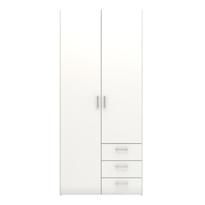 Space armoire 2 portes 3 tiroirs 77 cm blanc achat for Achat armoire chambre