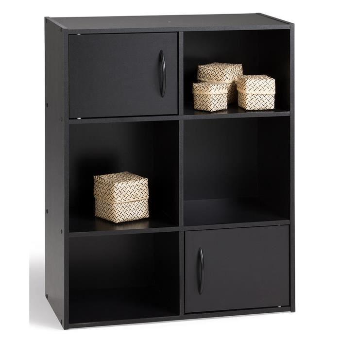 Compo 6 cases 2 portes noir achat vente petit meuble for Meuble cube 6 cases