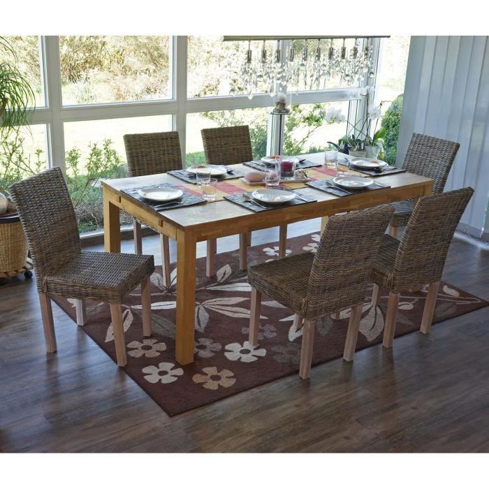 6 chaises de salle manger en rotin kubu gris achat vente chaise gris cdiscount - Chaises fauteuil salle a manger ...