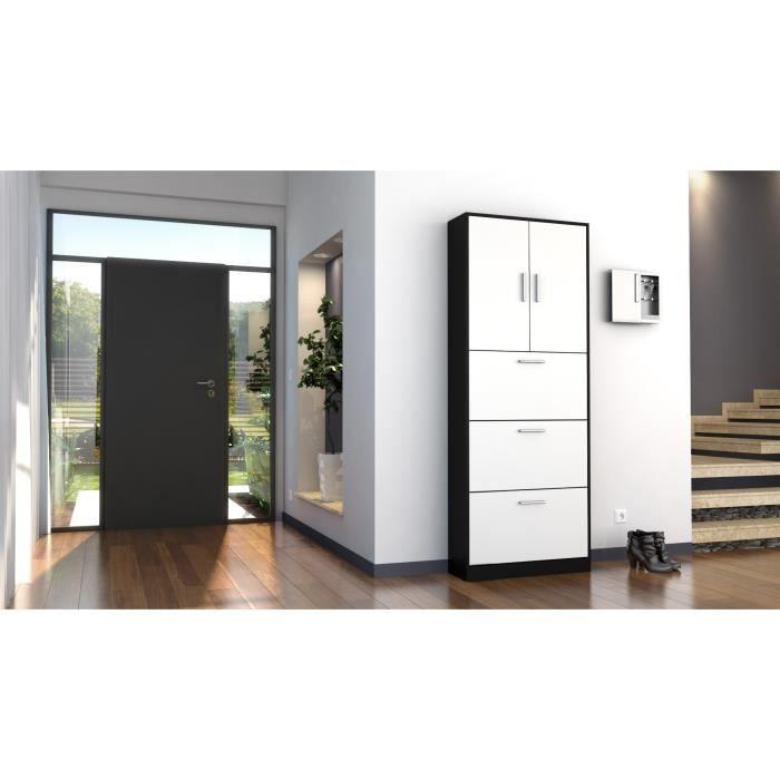 armoire vestiaire noire et blanc mat 192 cm achat vente meuble d 39 entr e armoire vestiaire. Black Bedroom Furniture Sets. Home Design Ideas