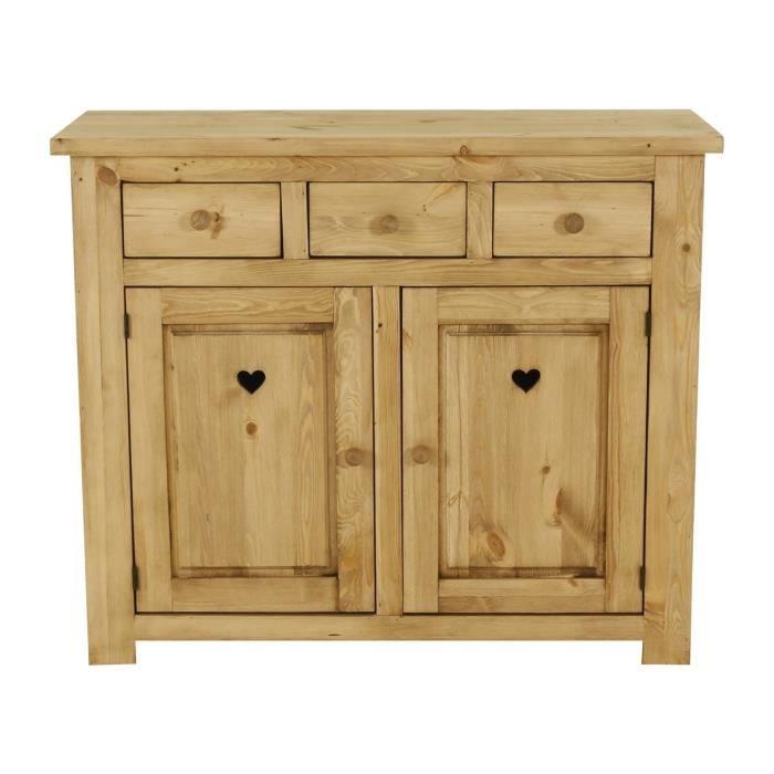 bahut rustique 2 portes 3 tiroirs avec coeur achat vente buffet bahut bahut rustique. Black Bedroom Furniture Sets. Home Design Ideas