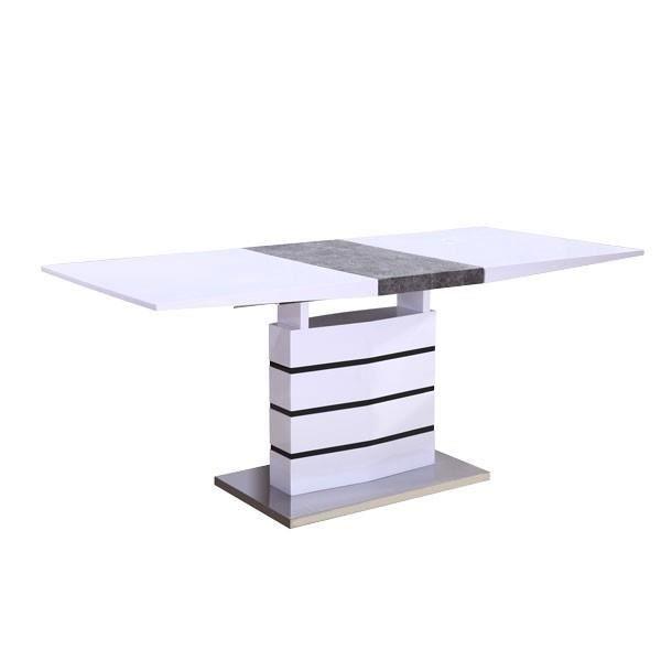 Table de salle manger extensible laqu blanc et gris for Table de salle a manger gris laque