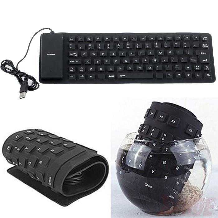 noir usb 2 0 portable clavier tanche en silicone flexible pour pc portable pc prix pas cher. Black Bedroom Furniture Sets. Home Design Ideas