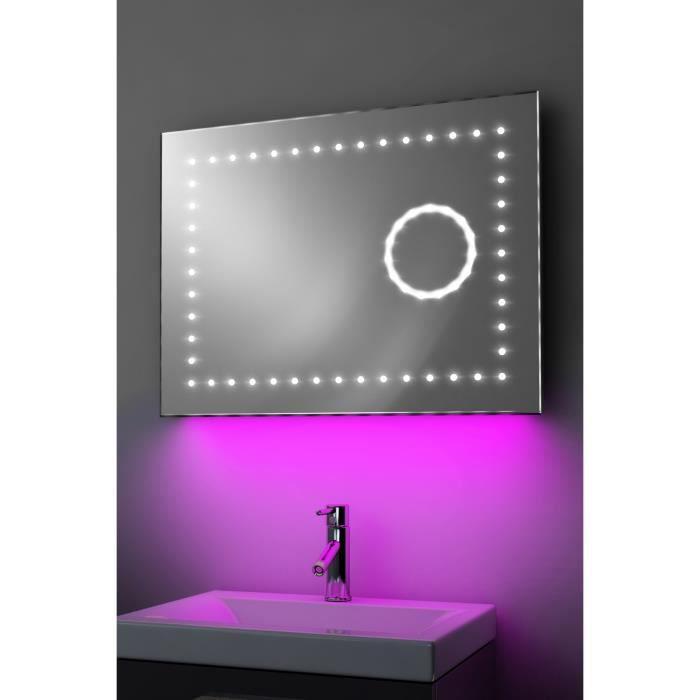 Miroir toilette horloge r tro clairage bluetooth anti - Anti buee miroir salle de bain ...