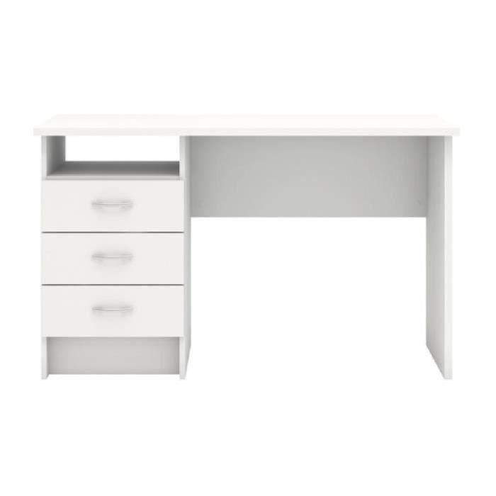 Function bureau contemporain blanc l 120 1 cm achat for Bureau 120 cm