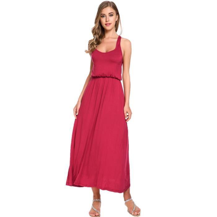 robe d 39 t mi longue sans manches rouge achat vente. Black Bedroom Furniture Sets. Home Design Ideas