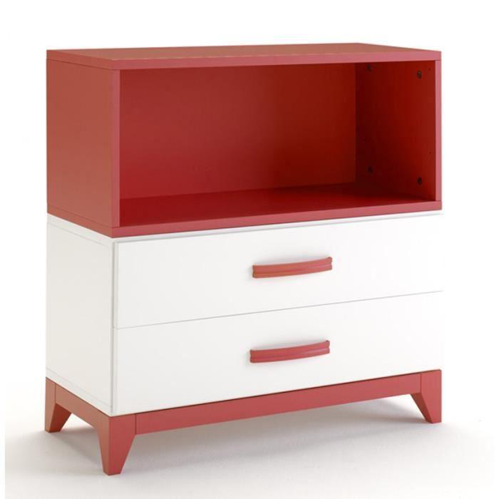 Commode de rangement en bois avec 2 tiroirs et tag re for Rangement tiroir en bois