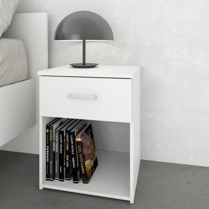 space table de nuit contemporain blanc l 37 cm achat vente chevet space table de nuit. Black Bedroom Furniture Sets. Home Design Ideas