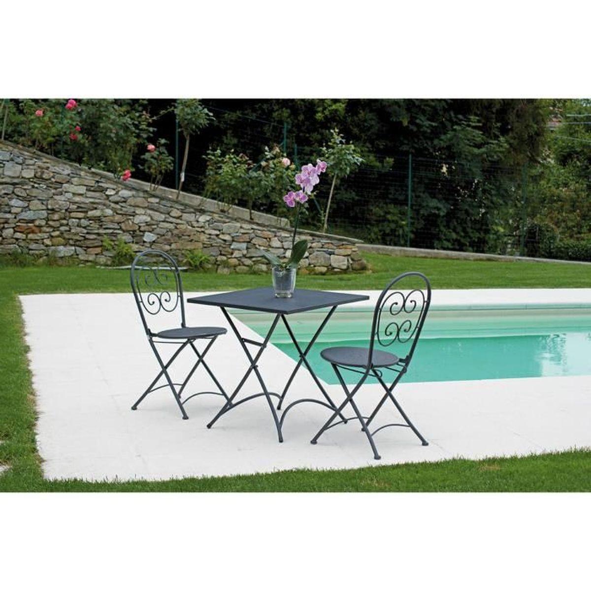 Ensemble de jardin table pliante 2 chaises en fer forg - Ensemble de jardin ...