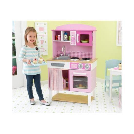 Cuisine enfant dinette bois rose pastel compl te a achat for Cuisine complete en bois