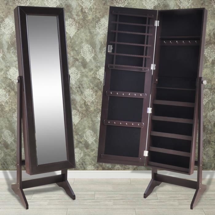 Armoire bijoux rangement miroir meuble chambre avec les - Miroir psyche avec rangement ...