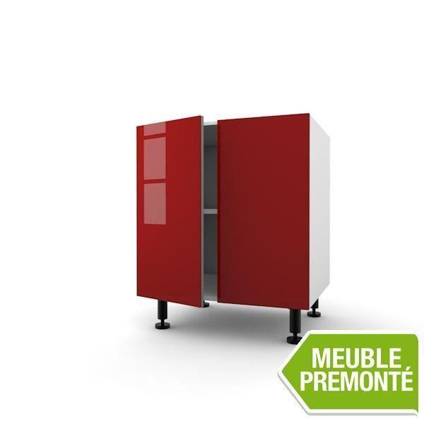 Meuble bas 60cm 2 portes 70x30 lagon cherry achat vente elements bas meuble bas 60cm 2 for Meuble 70x30