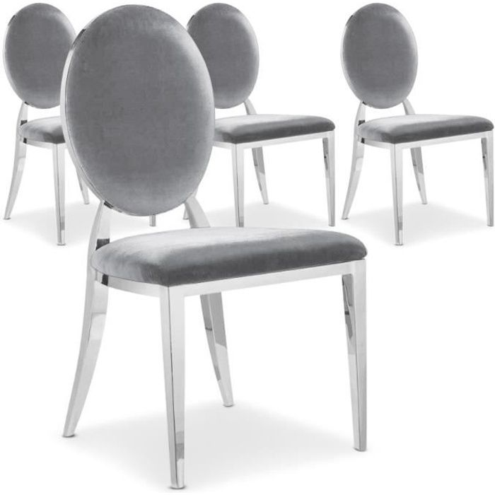 lot de 4 chaises sofia velours argent achat vente chaise gris cdiscount. Black Bedroom Furniture Sets. Home Design Ideas