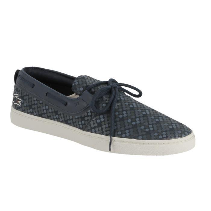 chaussure tennis lacoste en textile imprim bleu marine prix pas cher cdiscount. Black Bedroom Furniture Sets. Home Design Ideas