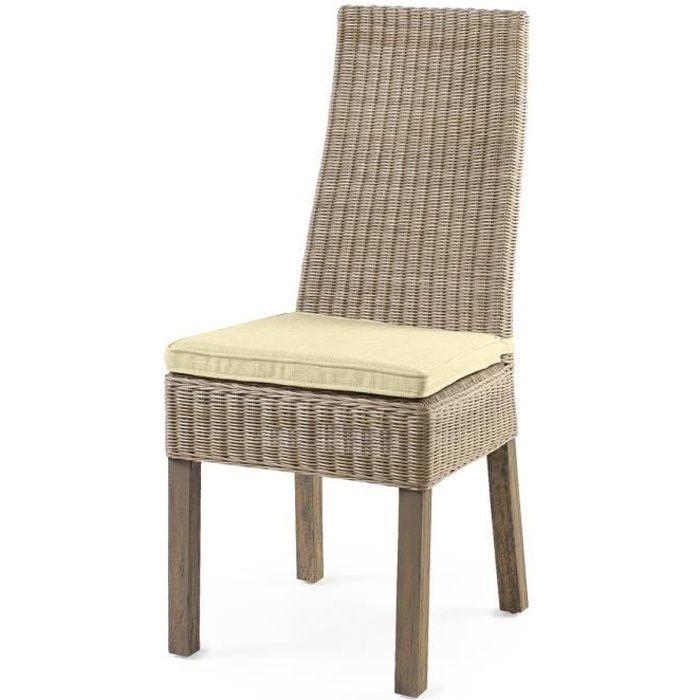 Chaise calvi rotin achat vente chaise gris les for Soldes chaises rotin