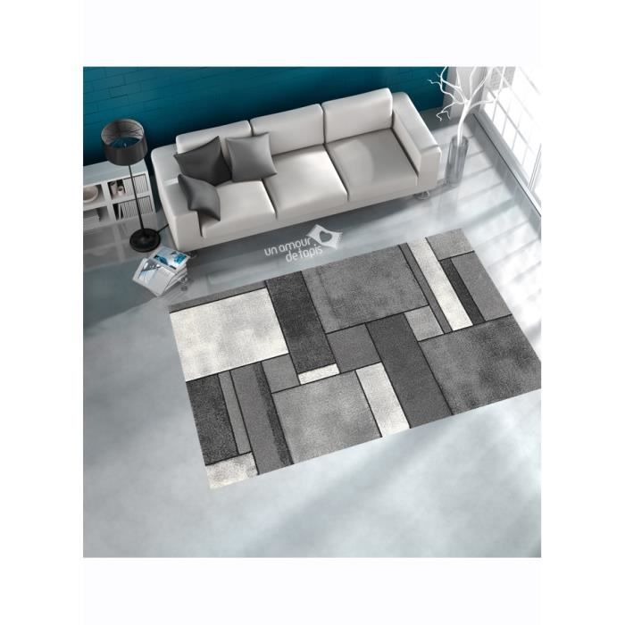 tapis de salon brillance geometrique gris 160x230 achat vente tapis cdiscount. Black Bedroom Furniture Sets. Home Design Ideas